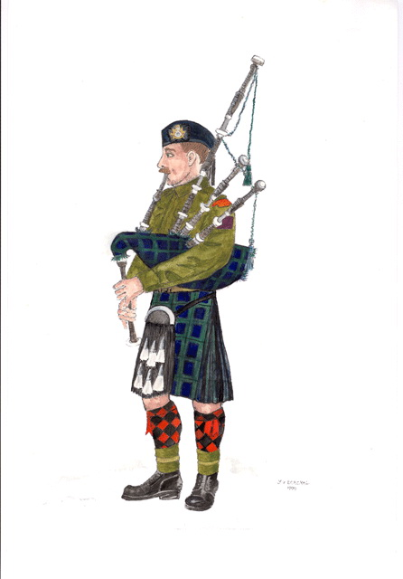 Aquarel donated to the Cape Breton Highlanders of Canada - click to enlarge